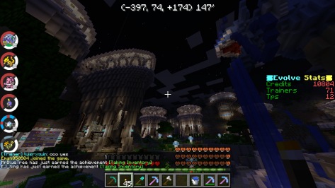 The main spawn point on a server hosted by EvolveCraft.