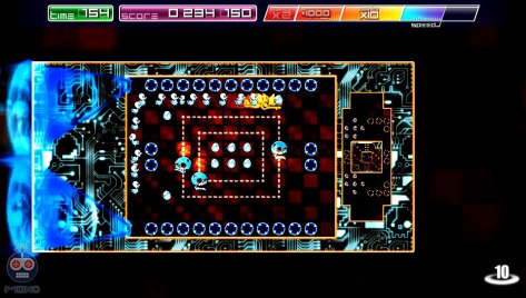 Arcade mode with enemies - two grids shown.