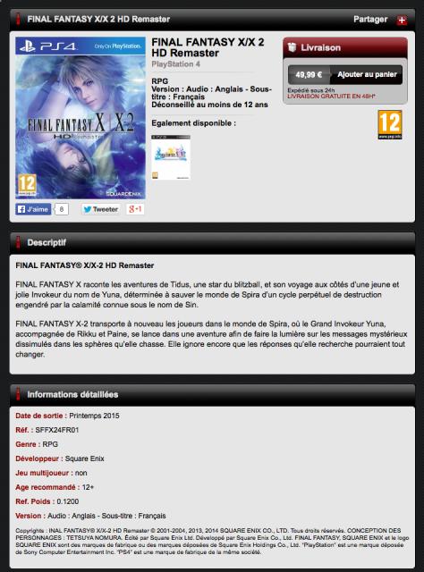 FFX HD PS4