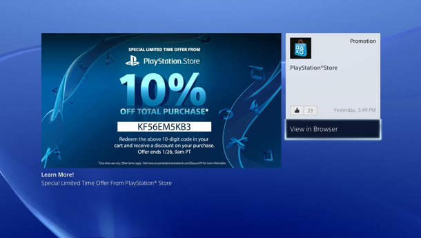 playstation network�s 10 percent discount now active