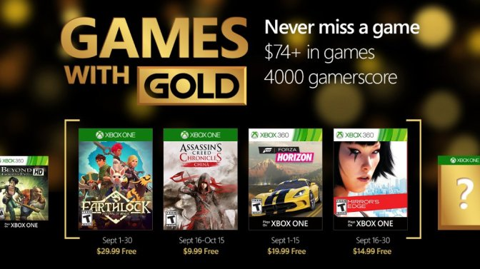 Xbox Games with Gold for September announced